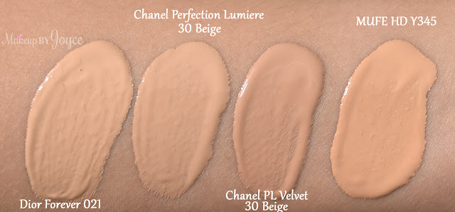 Chanel Perfection Lumiere Velvet Smooth Effect Foundation 30 Beige Swatch