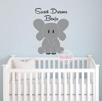 Vinilo Decorativo Infantil Elefante con Nombre y frase decoracion habitacion bebe nena nene