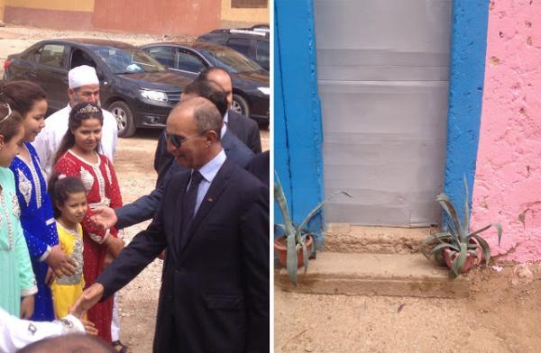 شوهة … فايسبوكيون يسخرون من استقبال حصاد بالفقيه بن صالح بباب مصنوع من الكرطون