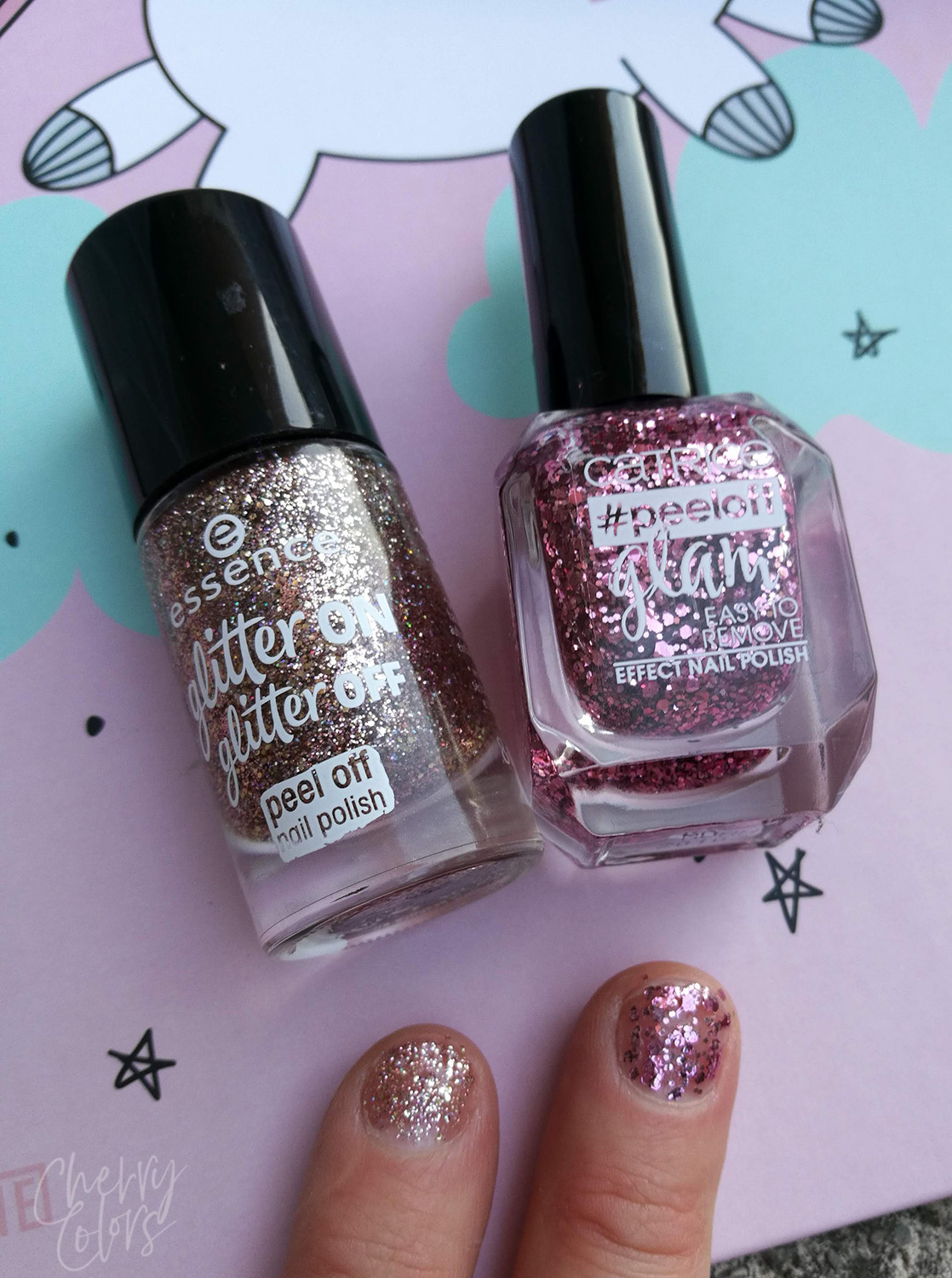 ESSENCE & CATRICE GLITTER PEEL OFF NAIL POLISH