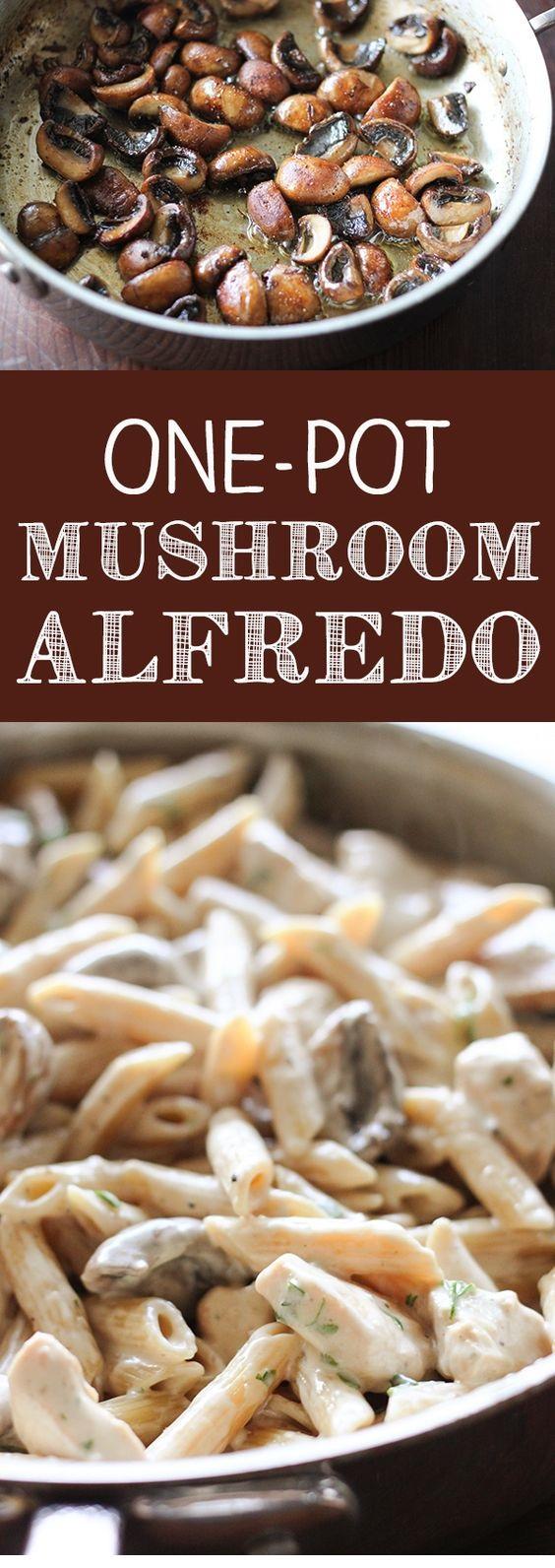 One-Pot Portobello Mushroom Chicken Alfredo