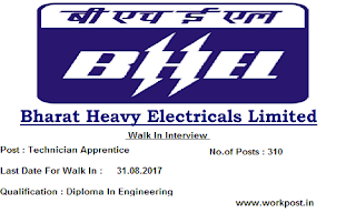 BHEL Bangalore Technician Apprentice Walk In Interview