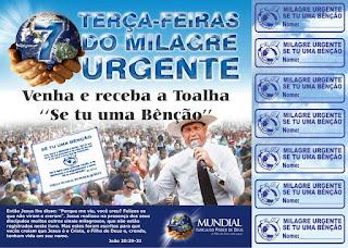 cartela,terças-feiras,milagre,urgente,impd,mundial,igreja