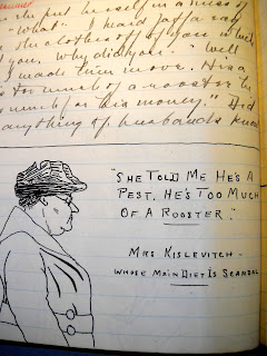 A sketch of an older woman in a hat with handwritten text.
