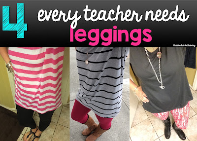 Leggings feel just like pjs!  I love wearing them with a long shirt, or a fun dress!  They are great because it is easy to move in them and work with my students.