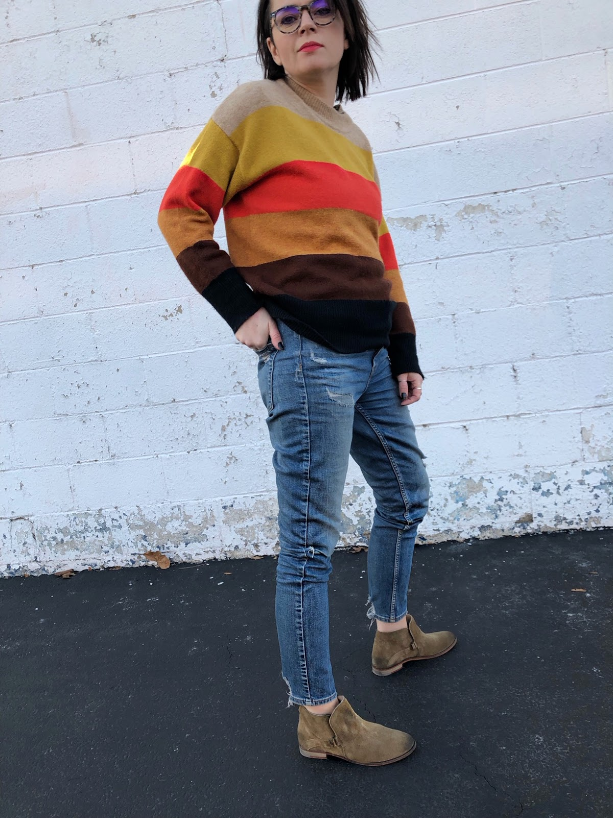 styling the same striped sweater in a new way