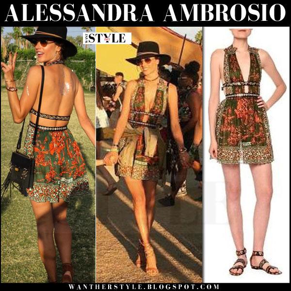 Alessandra Ambrosio in red and green printed red valentino mini dress what she wore coachella 2016 fashion