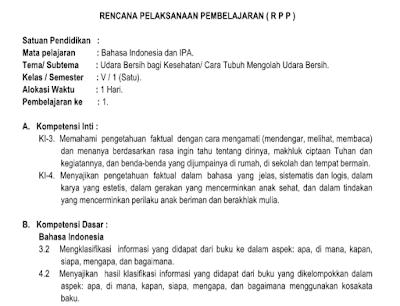 RPP Kelas 5 Tema 2 Udara Bersih Bagi Kesehatan K13 Revisi 2018