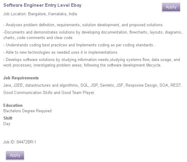 Great Minds Institution Ebay Hiring Entry Level Software Engineers Industry Best Salary Offered