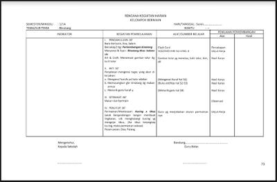 Contoh RKH PAUD/TK/RA/KB Tema Binatang Semester 1 Kurikulum 2013