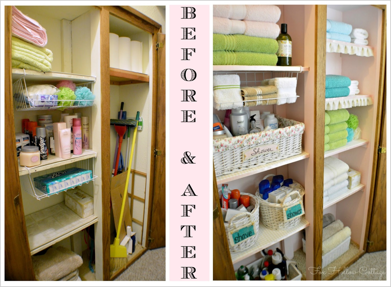 project linen closet reveal pretty and organized fox hollow cottage rh foxhollowcottage com Cabinets Linen Closet Makeover Linen Closet Shelving