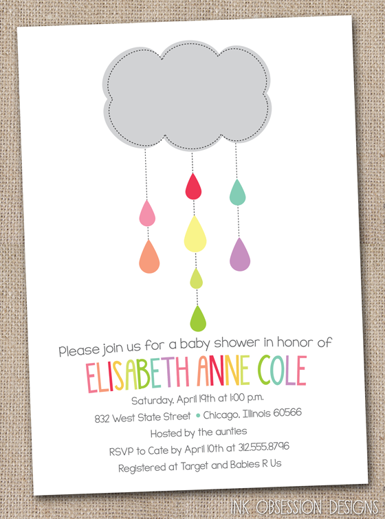 f2cc376a8 Ink Obsession Designs  Shower Cloud Baby   Bridal Shower Invitations