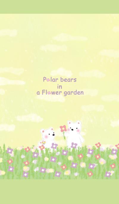 Polar bears in a flower garden