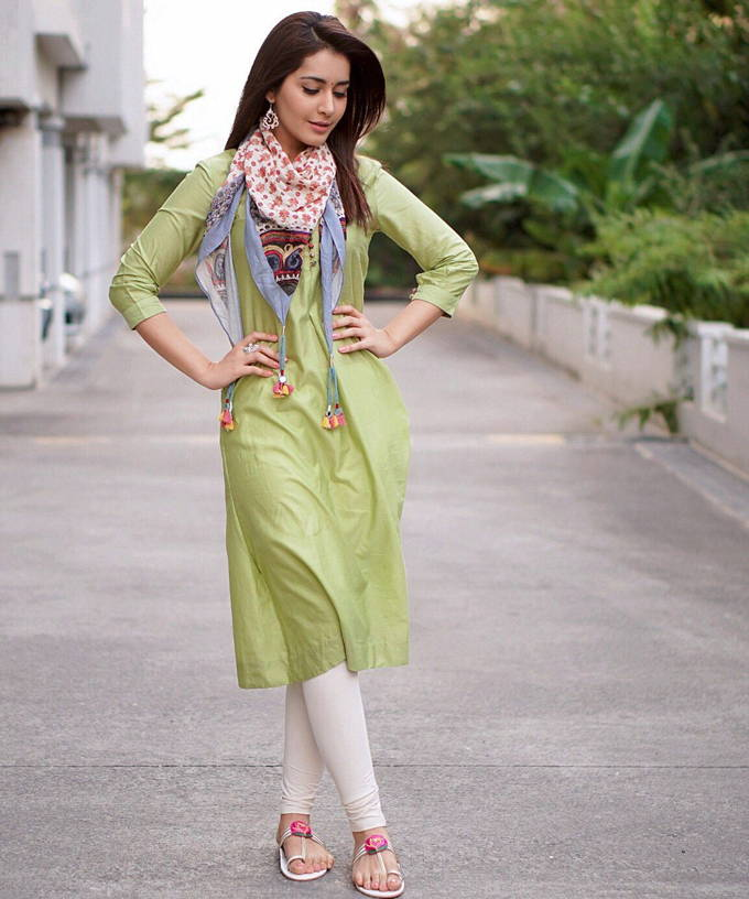 Telugu Actress Rashi Khanna Photoshoot In Light Olive Green Dress
