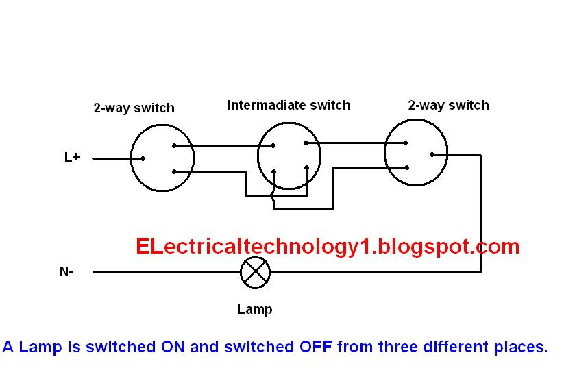 Intermediate Switch Wiring Diagram Uk For Light And Plug Electrical Technology How To Control One Lamp From Three Different What Is Its Construction Working Principle Using In Lighting Etc Wirings