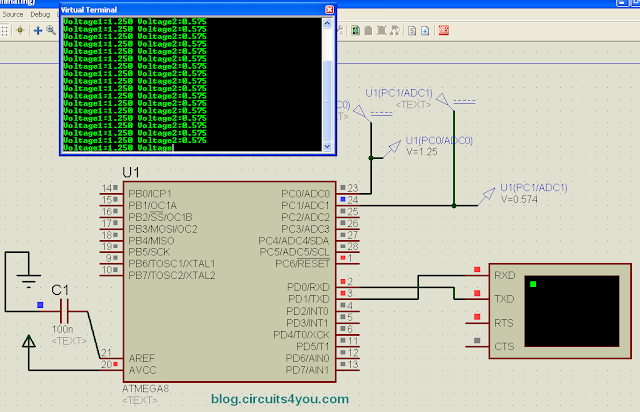 AVR Microcontroller ADC Interfacing Circuit