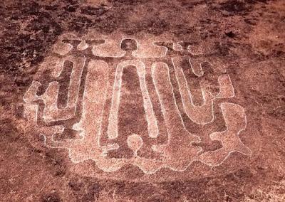 Petroglyph in Ratanagiri, Maharashtra, depicting the Master of Animals.