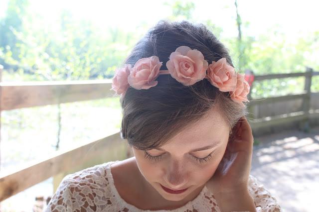 headband fleurs corail