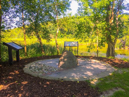 Korean War Memorial beside the Bark River in Delafield