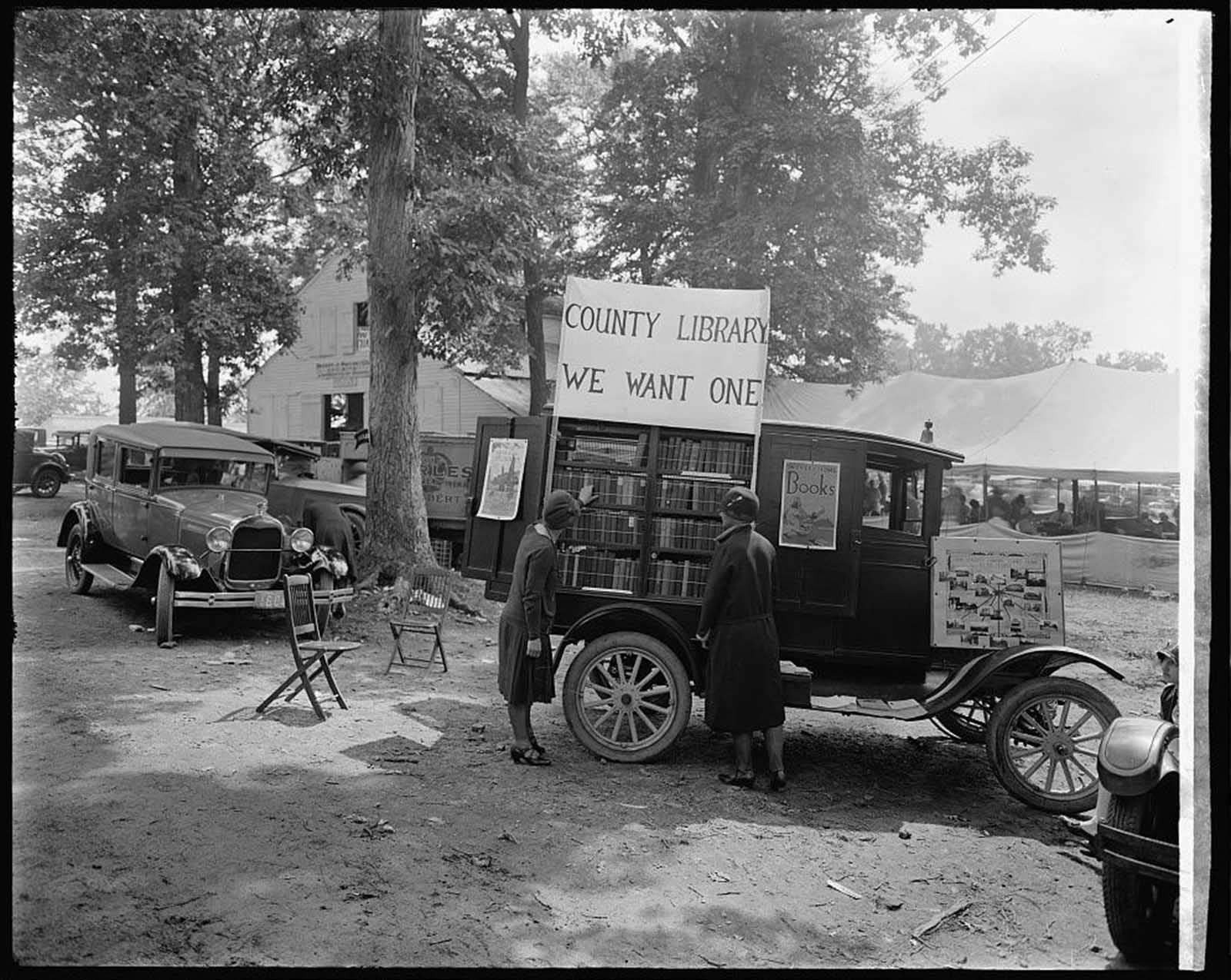 """County Library: We Want One,"" Rockville Fair, Maryland, 1928."