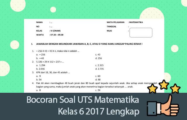 Soal UTS Matematika Kelas 6 2017