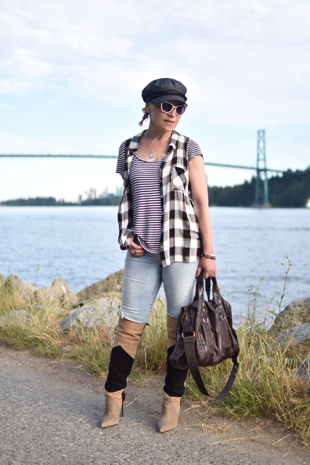 Monika Faulkner personal style inspiration - layered striped and plaid tops with skinny jeans and OTK boots