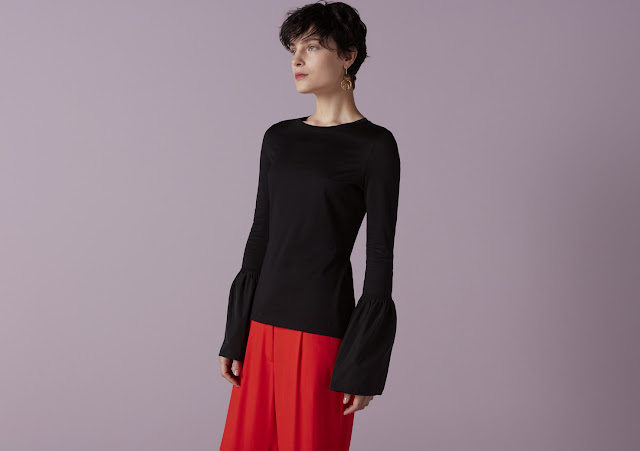 Finery Florence Flute Sleeve Jersey Top