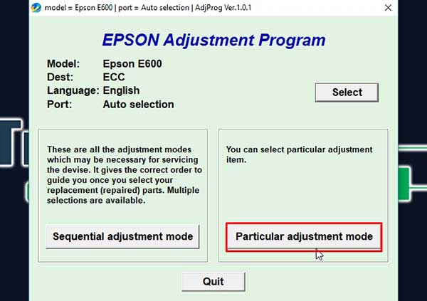 Epson Stylus E700 Adjustment Program