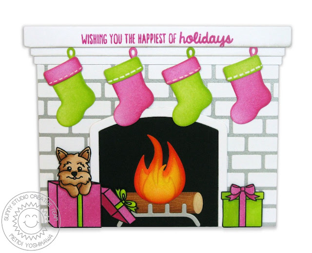 Sunny Studio Stamps: Shaped Fireplace Puppy Dog Card (using Christmas Icons, Santa's Helpers & Gleeful Reindeer Stamps)