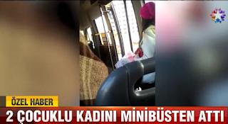 kadını minibüsten attı