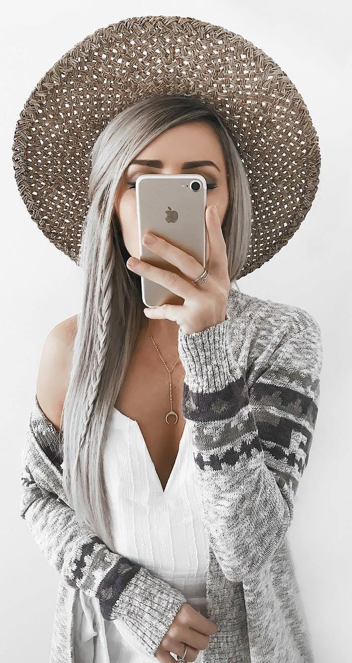 incredible fall outfit / hat + white dress + cardigan
