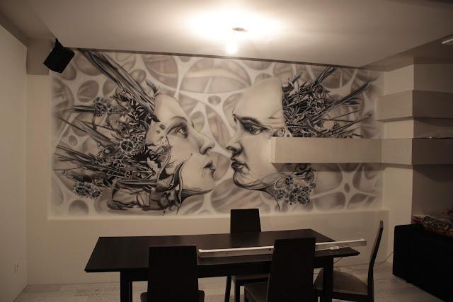 Mural o tematyc biomechanika steampunku, malowidło ścienne namalowane na ścianie farbami UV, Toruń