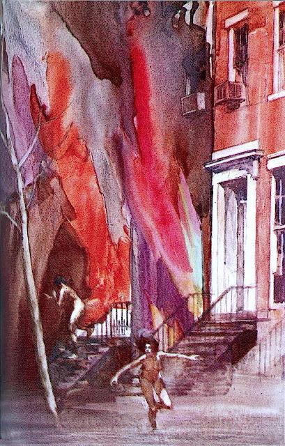 Daniel Schwartz illustration burning building