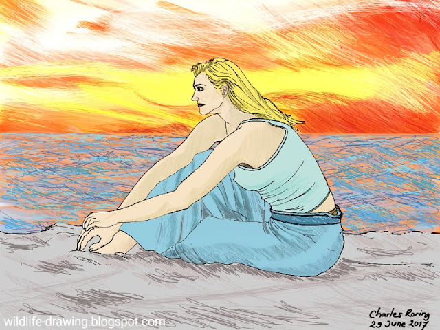 Figure drawing of a lady by the beach during sunset time