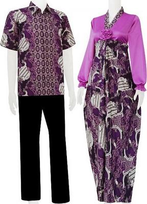Busana lebaran couple batik kombinasi polos