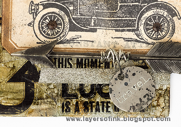 Layers of ink - Distressed Metal Tag by Anna-Karin with Tim Holtz stamps and idea-ology.