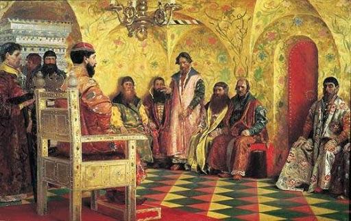 Михаил Федорович с боярами в  государевой комнате
