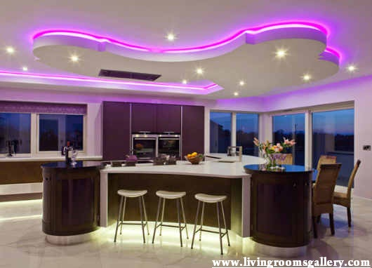 Stretch modern False Ceiling Designs For Kitchen With Purple LED lighting