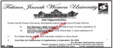 Jobs in Fatima Jinnah Women University FJMU Rawalpindi Jobs September 2020