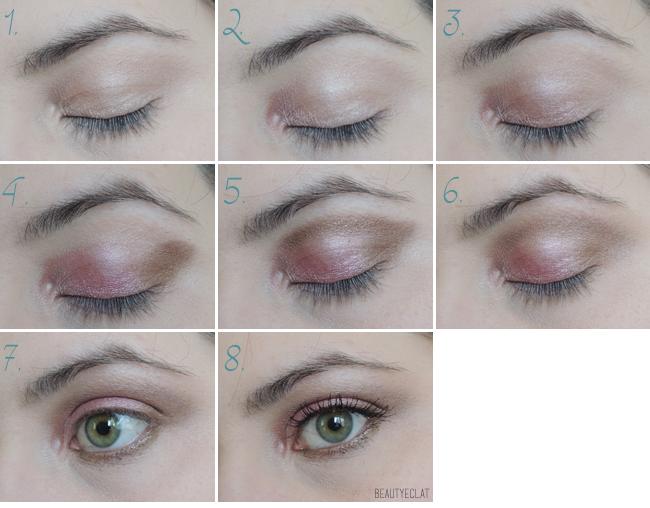 tutoriel maquillage yeux verts brun rose pas a pas