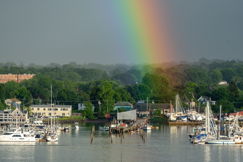 Portland, Maine USA August 2018 photo by Corey Templeton. A rainbow starting across the harbor in South Portland.