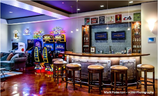 Professional Style Bar In The Basement With Buffet