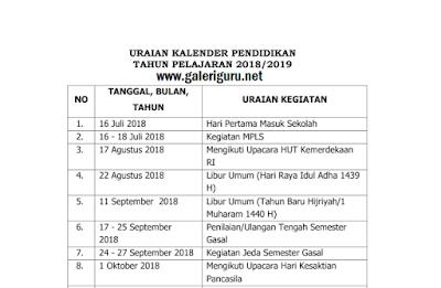 Kalender Pendidikan Tahun Pelajaran 2018/2019 SD MI SMP MTs SMA MA SMK MAK