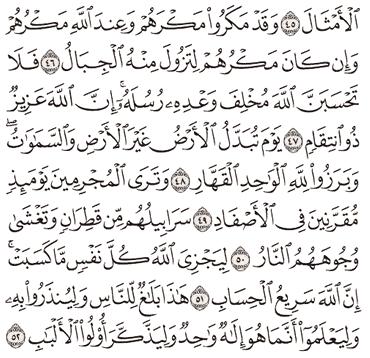 Tafsir Surat Ibrahim Ayat 46, 47, 48, 49, 50, 51, 52