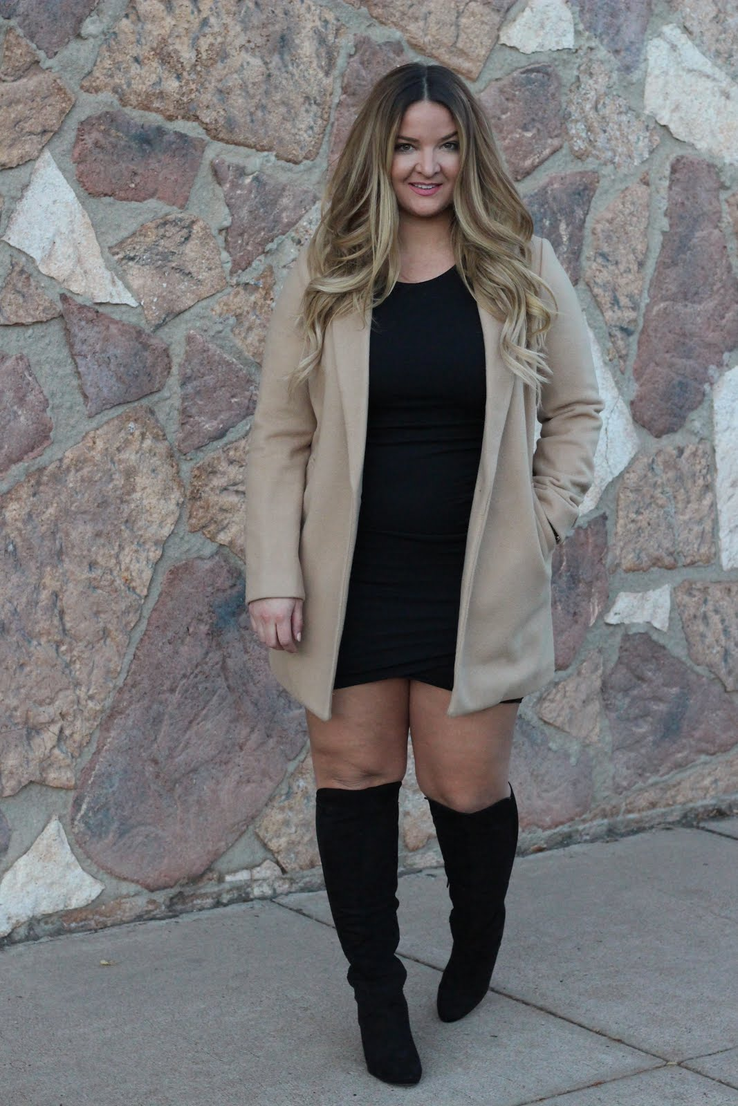 Long Pea coat with my LBD by popular Denver style blogger Delayna Denaye