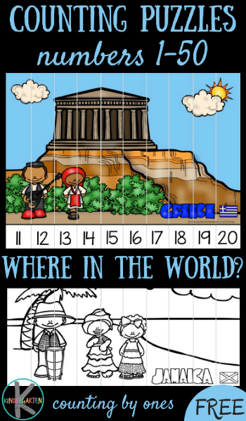 FREE Around the World Counting to 50 - help Kindergarten kids practice counting from 1-50 with these fun, free printable around the world puzzles that help kids explore greece, jamica, kenya, the netherlands, and more. (cool math games, kindergarten math, counting to 50)