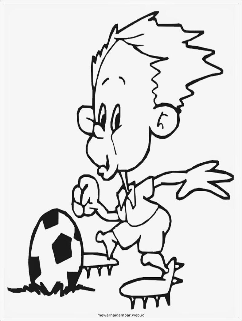 gambar sketsa pemain sepakbola kartun