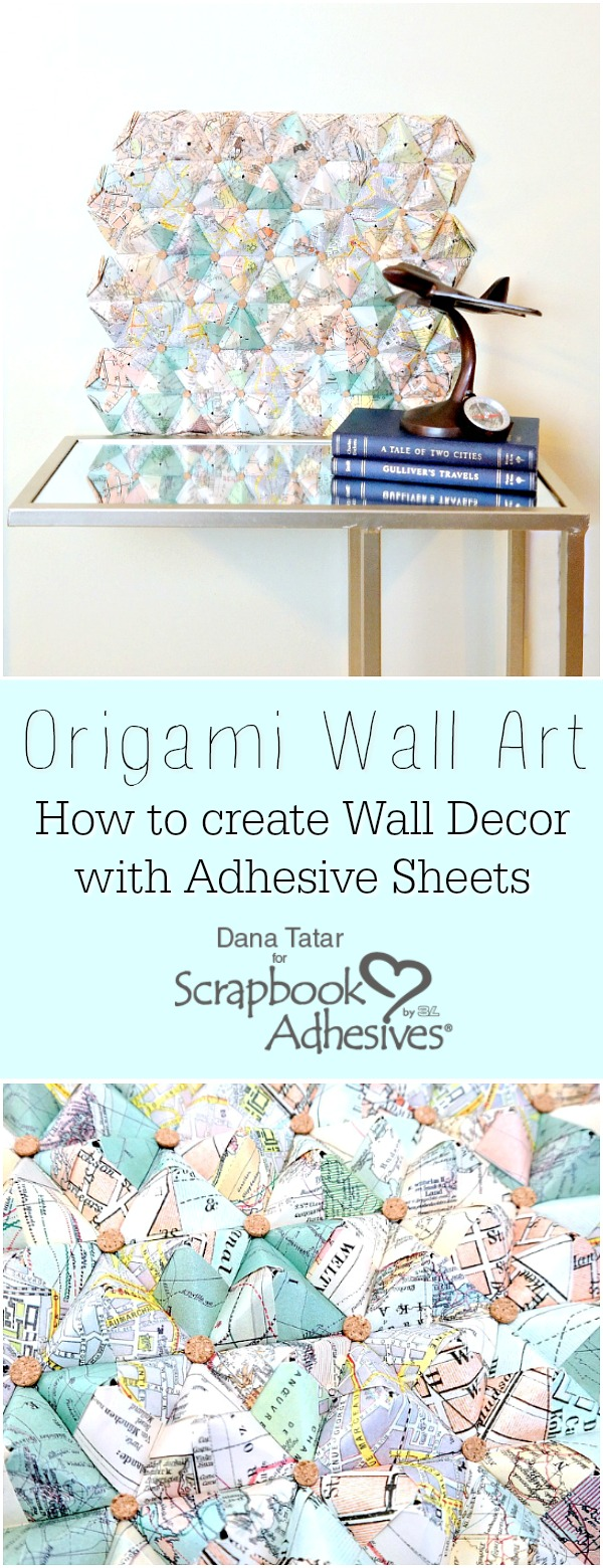 3D Origami Wall Art with Hexagon Shapes and Cork Circle Embellishments Tutorial by Dana Tatar for Scrapbook Adhesives by 3L