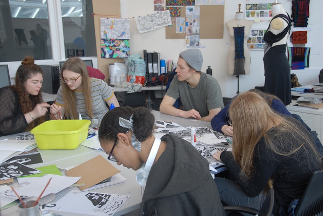 Students from Saturday Art & Design Club working with Jonathan.