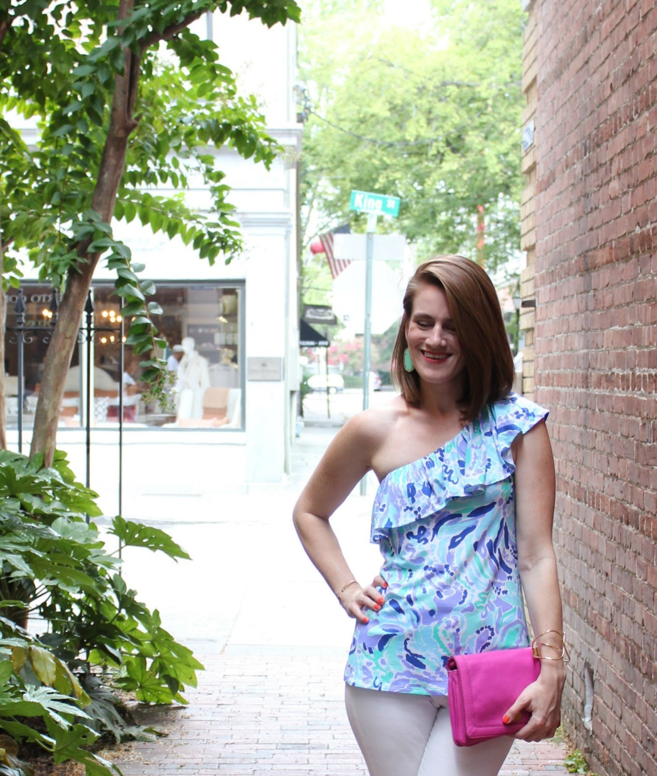 lilly pulitzer one shoulder top - lilly pulitzer - lilly pulitzer neveah one shoulder top - lilly pulitzer neveah top